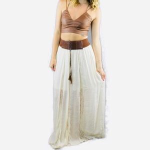 Boho maxi skirt with Lace Up belt accent